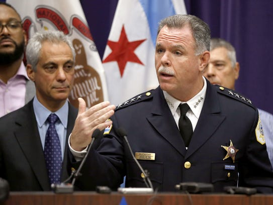 Chicago Mayor Rahm Emanuel, left, and Police Superintendent