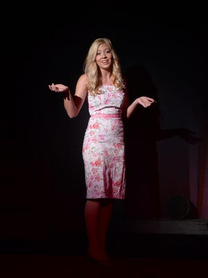 """Lizzy Walther as """"Elle Woods"""" rehearses """"Legally Blonde The Musical"""" Tuesday, May 10, 2016, on the stage at Richmond Civic Theatre."""