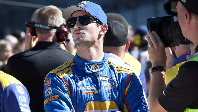 Andretti Herta Autosport IndyCar driver Alexander Rossi (98) following his run for the pole position during Armed Forces Pole Day Sunday, May 21, 2017, afternoon at the Indianapolis Motor Speedway.