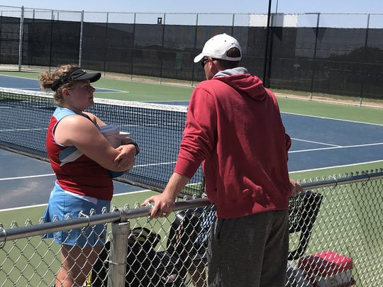 Hirschi's Savana Mayfield (left) placed second in the girls singles draw at the Denton Tournament over the weekend.