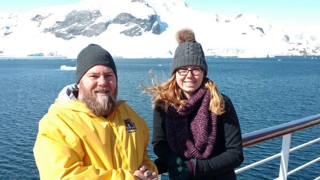 Gary Mlodzik and his daughter Kody aboard the Holland America Zaandam cruise ship during their 21-day trip to Antarctica.