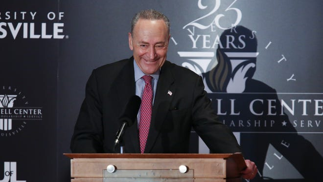 Sen. Chuck Schumer, D-NY, was acknowledged by the crowd just before making remarks at the McConnell Center at the Univerity of Louisville.  Feb. 12, 2018