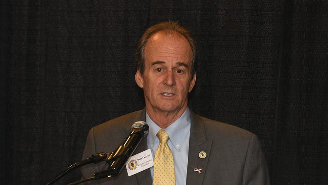 Wicomico County Executive Bob Culver speaks at the Salisbury Area Chamber of Commerce.