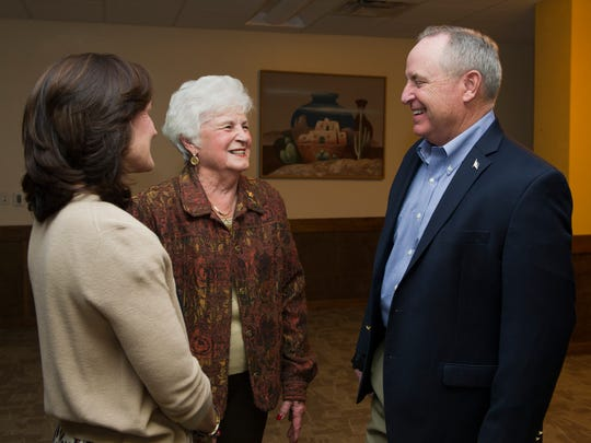 In this 2015 Holloman Air Force Base file photo, former Air Force Chief of Staff Gen. Mark A. Welsh lll greets Toots Green, a Committee of Fifty member, before the civic leader dinner at Holloman on Nov. 16, 2015. Welsh held the dinner to get to know the leaders of the community and learn how their support helps Team Holloman and its mission every day.