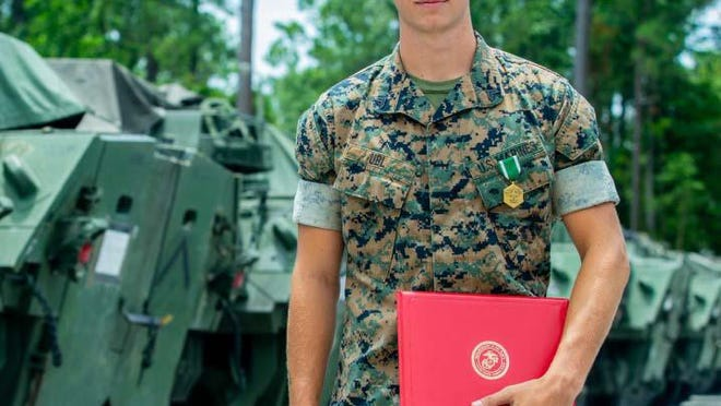 Marine Corps Cpl. Matthew Ubl, with Alpha Company, 2d LAR, MARDIV, aboard Camp Lejeune recently received a Navy and Marine Corps Commendation Medal for his efforts executing CPR to an unconscious civilian which contributed to saving the man's life.
