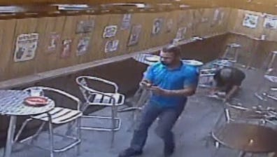 This screengrab of surveillance video shows a suspect in a brutal beating that took place at Blazing Saddle, a Des Moines bar, this month.