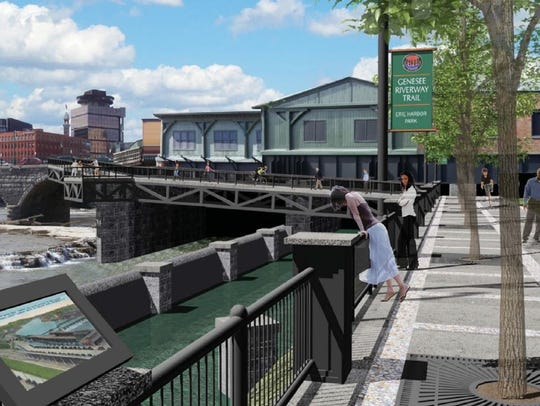 A rendering of a public promenade planned on the riverfront
