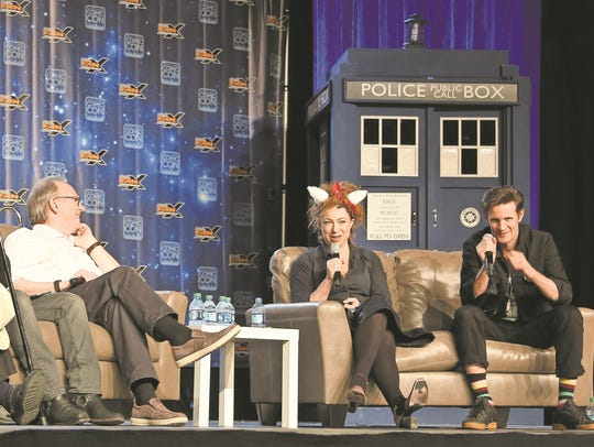 From left, actor Sylvester McCoy, moderator Aaron Sagers,