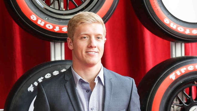 Indy Car Driver Spencer Pigot walks the red carpet during the Verizon Indy car Championship Celebration, held at the Hilbert Circle Theatre, Tuesday October 4th, 2016.