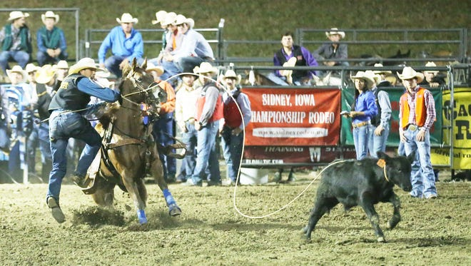 Pearl River freshman Andrew Burks competes in a rodeo in Missouri during the regular college rodeo season.