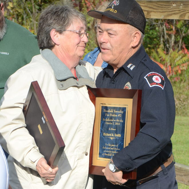 Sandy Mehaffey and Richard Smith at the rededication of the Pennfield Township Fire Station No. 2 on Tuesday.
