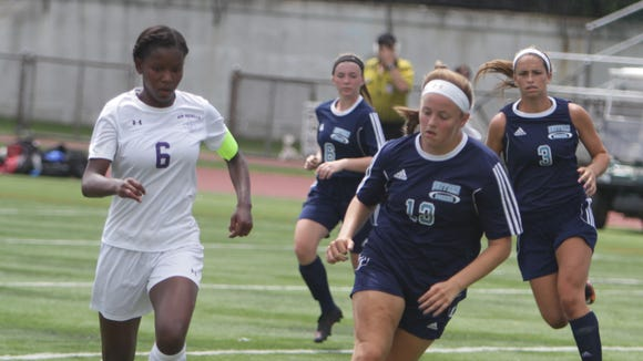 Action during a Section 1 girls soccer game between New Rochelle and Suffern at New Rochelle High School Friday, Sept. 2.
