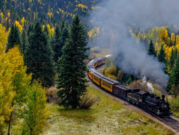 A train along the Durango and Silverton Narrow Gauge