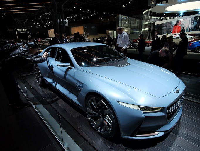 The Genesis concept car is displayed during the New
