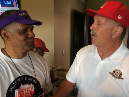 Former NABJ President Will Sutton, left, meets former Detroit Tigers pitcher Dan Petry on Sunday at the Tiger-Cleveland Indians game at Comerica Park. The national NABJ convention will be in Detroit Wednesday-Sunday.