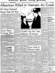 The front page of the Stevens Point Daily Journal from March 24, 1967 announcing the death of James Albertson, president of the University of Wisconsin-Stevens Point.