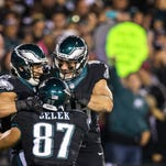 Eagles tight ends Brent Celek (87) and Zach Ertz (right) celebrate James Casey's touchdown grab Oct. 12 win against the Giants. The Eagles released Casey, due $4 million in pay in 2015.