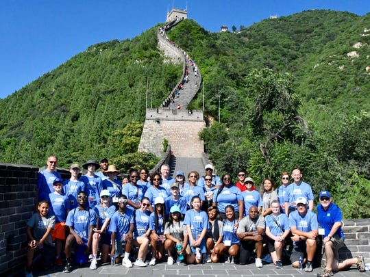 Members of the MTSU delegation to China gather before beginning their ascent on a portion of The Great Wall of China at Juyongguan, near Beijing