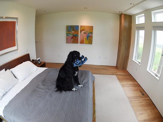 "Master Bedroom/ Suite with ""Charlie"" and artwork by Deborah Brisker-Bruk at The home of Gary Phillips, designed by Shawn Ewbank at 21276 Bald Eagle Road in Bay Vista near Rehoboth Beach will be on display for the Rehoboth Beach Art League Cottage Tour."