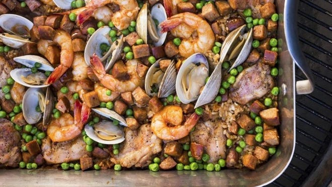 "This Grilled Paella is from a new America's Test Kitchen cookbook called ""The Complete Summer Cookbook."""