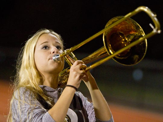 Elizabeth Ribas plays the trombone. The Freehold Township