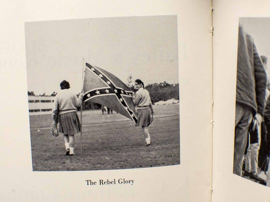 The Confederate flag appears in the 1963 South Burlington High School yearbook. Seen on Tuesday, September 22, 2015.
