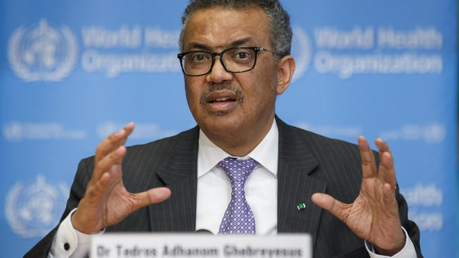 GENEVA, Switzerland -- Tedros Adhanom Ghebreyesus, Director-General of the World Health Organization (WHO), speaks during a news conference on updates regarding on the novel coronavirus, at the WHO headquarters in March.