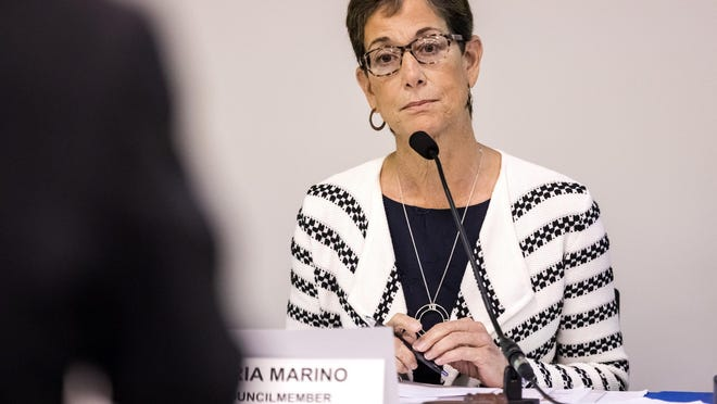 Maria Marino, a Palm Beach Gardens council member, listens to speakers at the Palm Beach Transportation Planning Agency before the group voted to add State Road 7 back onto a long-range plan Thursday, February 20, 2020 in West Palm Beach.