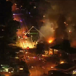 An aerial shot of firefighters working to extinguish the fire at Batesville Elementary.