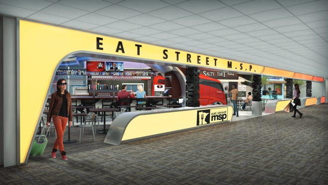 A new food truck-style area of the Minneapolis St. Paul International Airport.