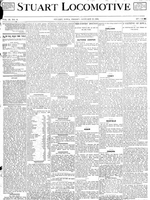 This front page from the Jan. 19, 1900, edition of the Stuart Locomotive, in the public domain, is an example of a local Iowa newspaper that has been digitized.