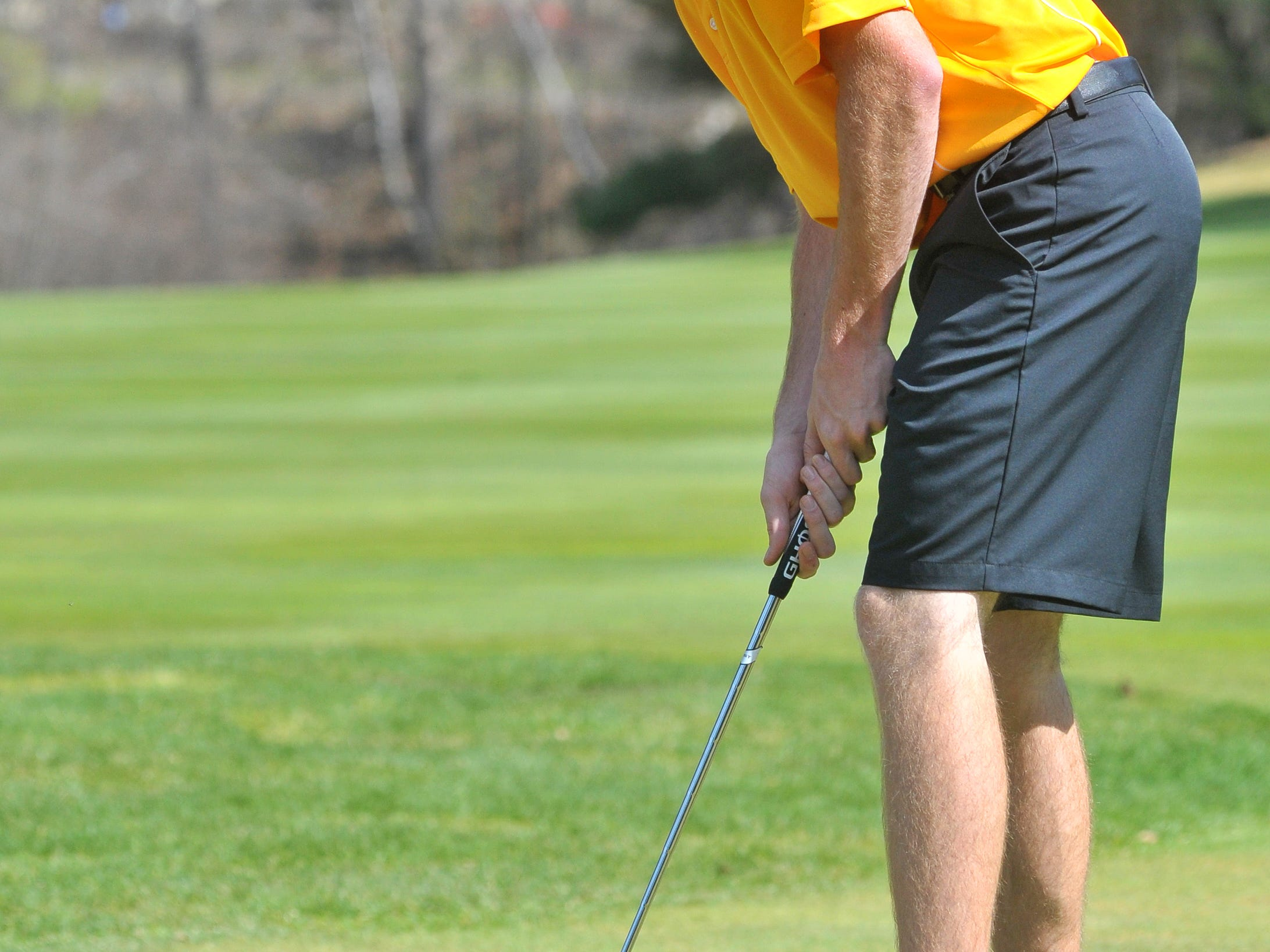 D.C. Everest's Derek Tomczik watches his put during Tuesday's City Meet at Wausau Country Club in Schofield.