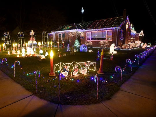 A decorated home in Myerstown stands out for it's massive display on the front yard.