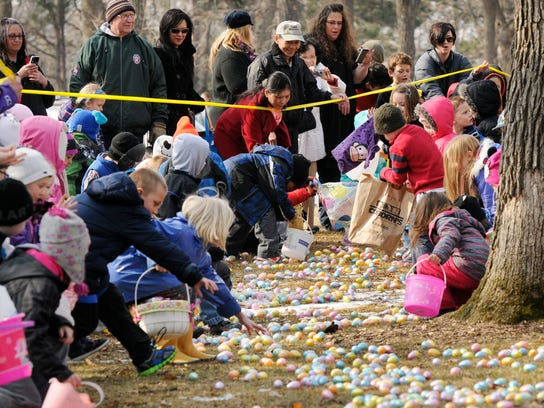 It was a mad dash to the plastic eggs loaded with candy