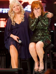 Melissa Peterman (left) and Reba McEntire watch a birthday