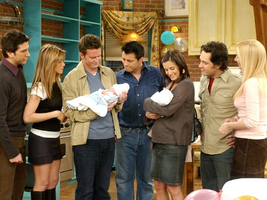 """David Schwimmer, left,  Jennifer Aniston, Matthew Perry, Matt LeBlanc, Courteney Cox Arquette, Paul Rudd and Lisa Kudrow in the series finale of NBC's """"Friends."""" After 10 years, the sitcom aired its last show on May 6, 2004."""