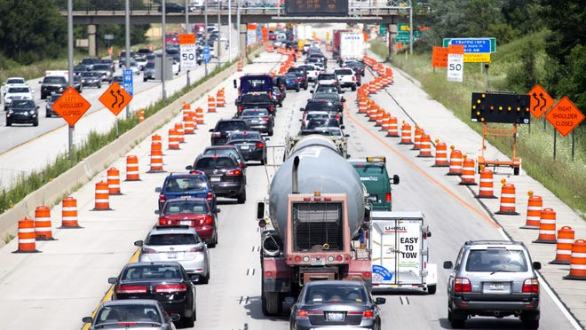 Eastbound traffic on I-94 near the S. Elm Grove Road bridge backs up due to construction in July.