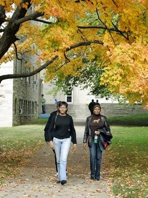 Prospective students tour the Indiana University campus in Bloomington, October 2015.