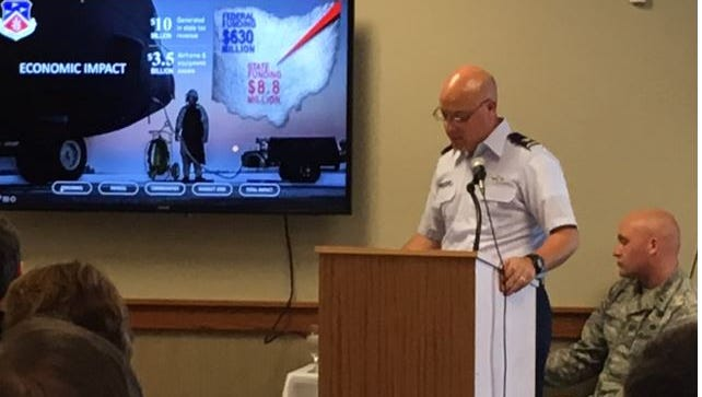 Col. Todd Thomas of the 179th Airlift Wing of the Ohio National Guard, updated the Economic Club Tuesday about the base.