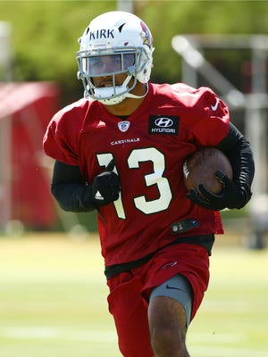 Wide receiver Christian Kirk during the Cardinals rookie mini-camp practice on May 11, 2018 at the Arizona Cardinals Training Facility in Tempe, Ariz.