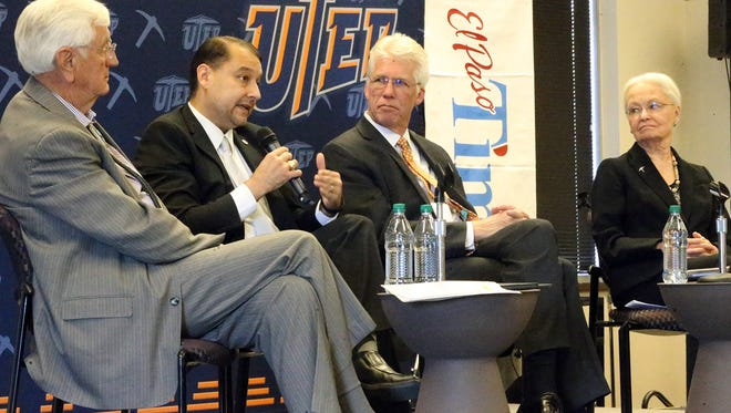 El Paso Community College President William Serrata, second from left, speaks in April during a Times Live discussion on higher education with New Mexico State University President Garrey Carruthers, left, Texas Tech University Health Sciences Center El Paso President Richard Lange, center, and University of Texas at El Paso President Diana Natalicio, right, at UTEP.