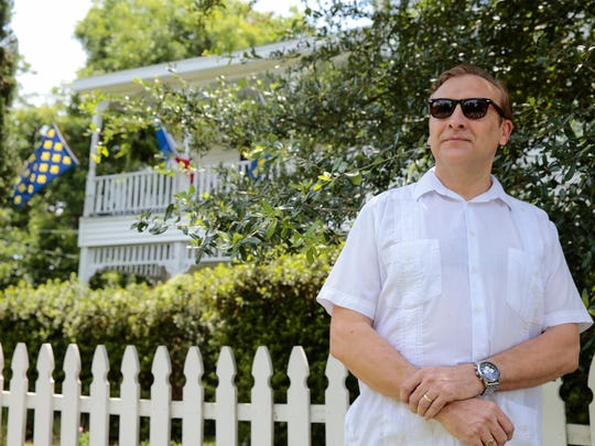 Olivier Chatelain de Pronville, president of the Sterling Grove Neighborhood Association in front of his home in Lafayette June 8, 2016.