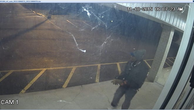 Moorestown police say this suspect smashed a brick through a dry cleaners' window and made off with cash early Sunday morning.