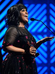 CeCe Winans wins Gospel Artist of the Year at the 2017 Gospel Music Association Dove Awards at Lipscomb University's Allen Arena
