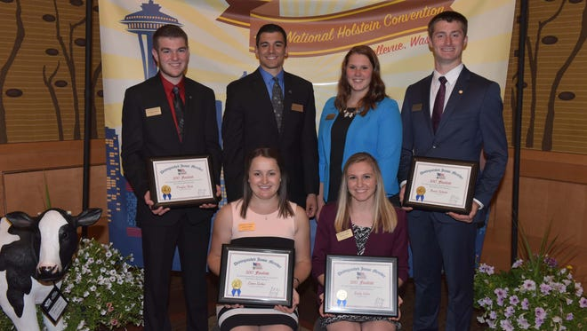 Six Distinguished Junior Member (DJM) finalists were named by Holstein Association USA during the National Holstein Convention. They are from left, front row: Laura Lesher and Emily Irwin. Back row from left, Douglas Boop, Tony Lopes, Carley Krull and Austin Schmitt.