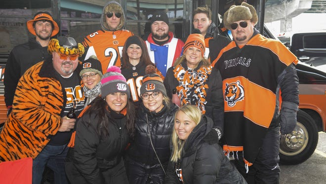 Bengals fans showed up for some tailgating parties in the lots around Paul Brown Stadium before the Cincinnati Bengals vs. Chicago Bears game. The Fish Family is from West Chester.