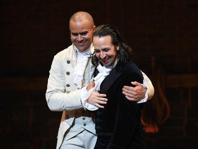 "Actor and ""Hamilton"" creator Lin-Manuel Miranda, right,"