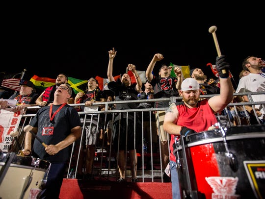 Fans cheer on the Rising on June 29, 2018, during Phoenix