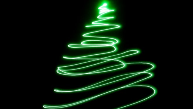 green laser in black background