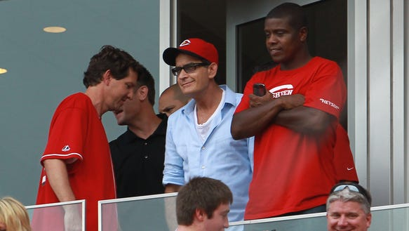 Charlie Sheen at 8.4.12 Reds game